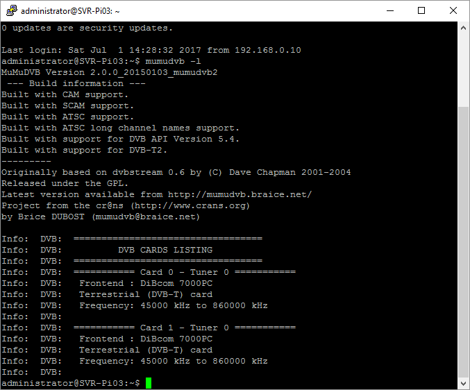 Streaming DVB-T over an IP network using MuMuDVB on a